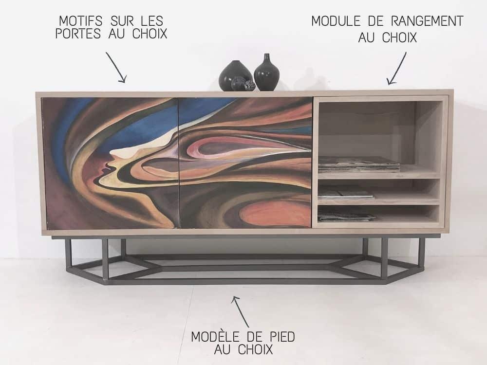 buffet bois et métal avec 2 portes peintes à la main