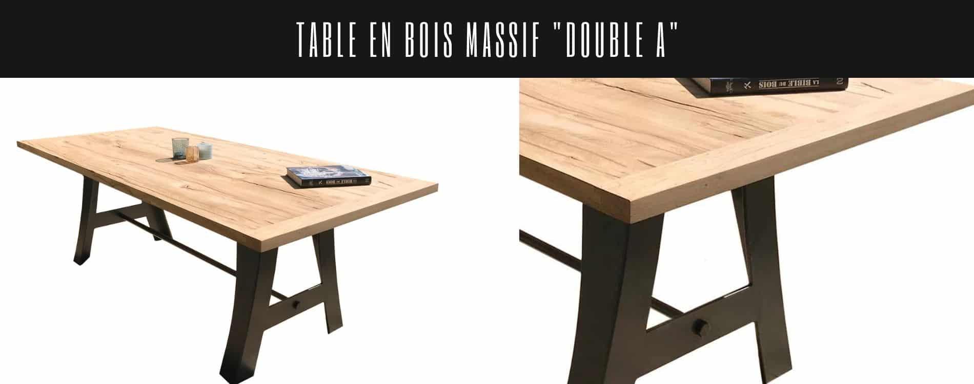 Table avec plateau chêne massif recyclé et 2 pieds en métal en forme de A.