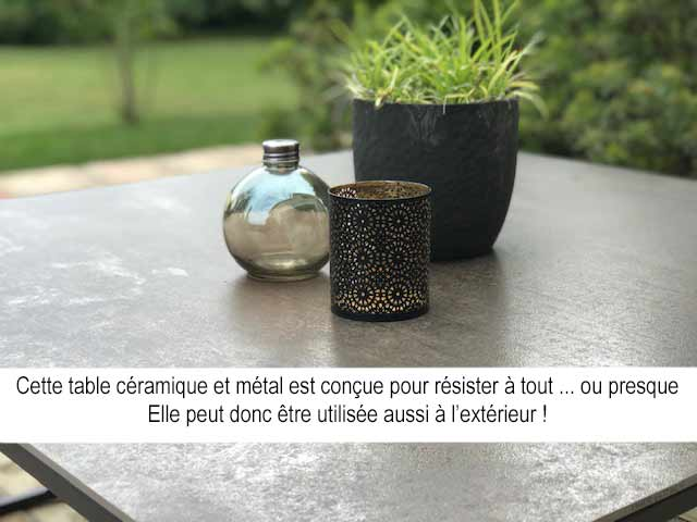 table de salon plateau céramique sur-mesure et pied en métal au choix