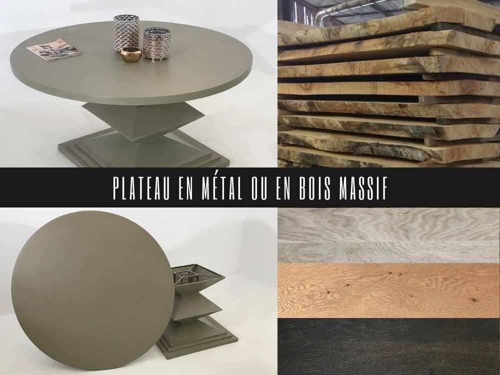 Table ronde sur mesure avec plateau rond en métal