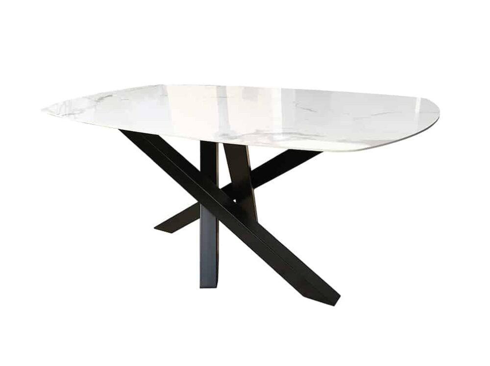 Table avec plateau céramique et pied central original en métal.
