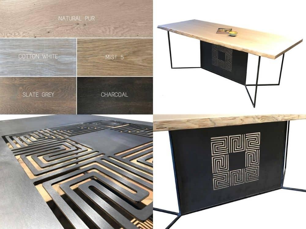 table sur-mesure avec plateau en chêne massif et pied en métal ajouré